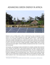 PIN (2018) Advancing green energy in Africa - use of solar power - overview